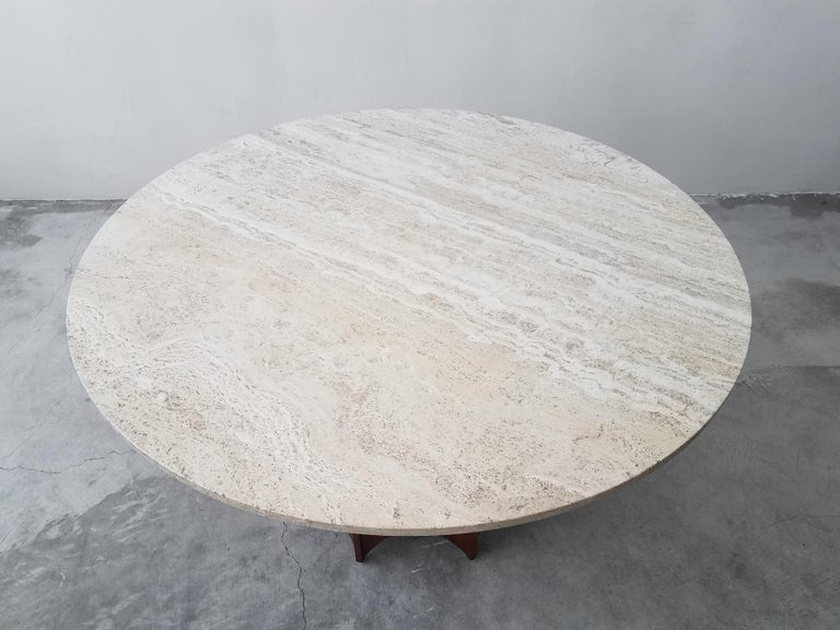 20th Century Midcentury Travertine and Walnut Game Table and Chairs Set