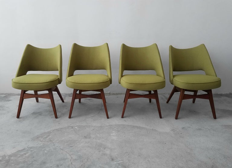 Midcentury Travertine and Walnut Game Table and Chairs Set by Harvey Probber 2