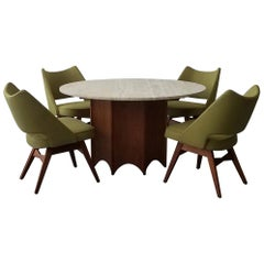 Midcentury Travertine and Walnut Game Table and Chairs Set