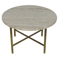 Midcentury Travertine Marble and Brass Round Coffee or End Table McCobb Style