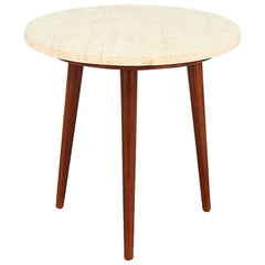 Midcentury Tri-Leg Side Table with Travertine Top