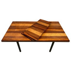 Midcentury Tri-Wood Expandable Dining Table by Milo Baughman with '2' Leaves