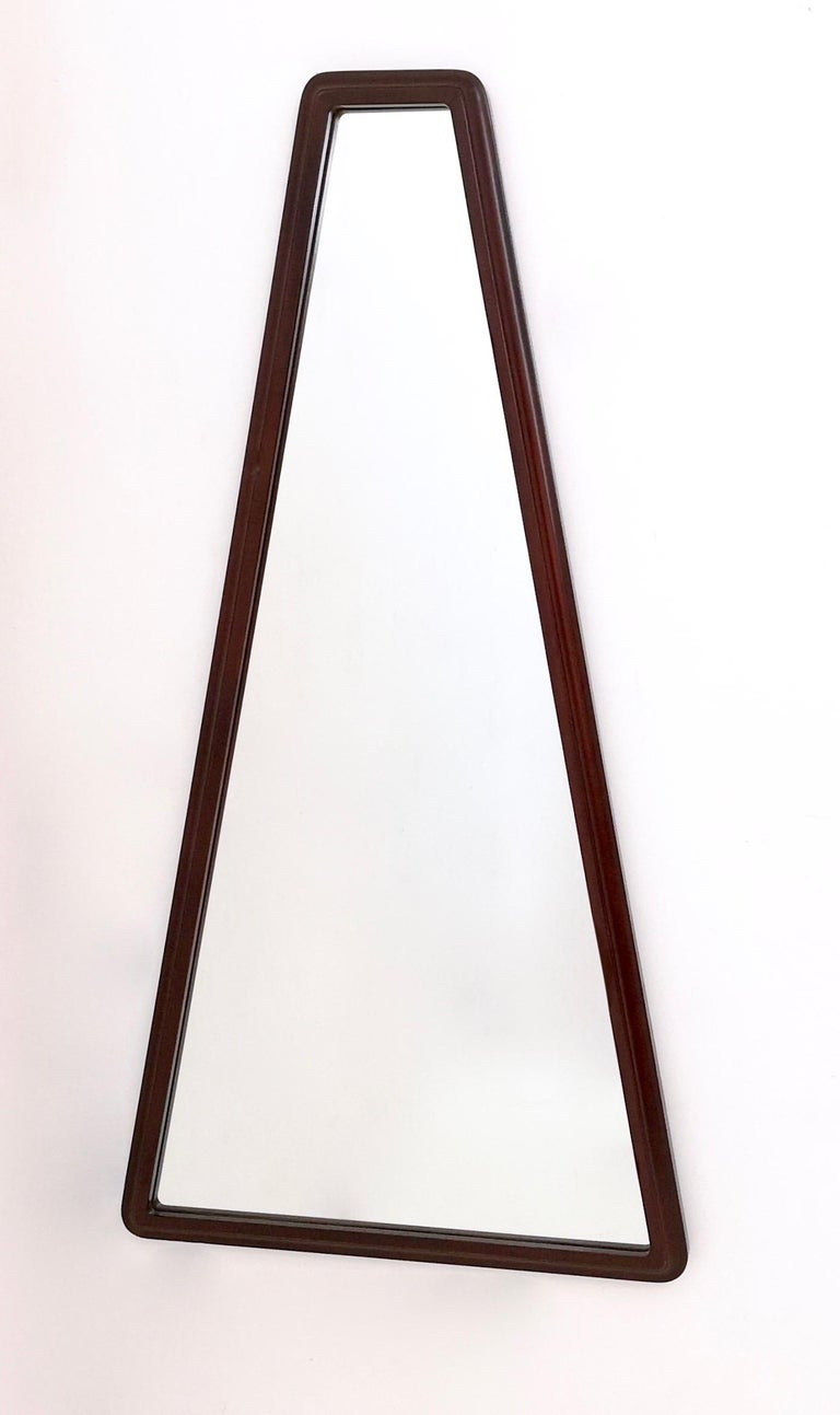 Italian Midcentury Triangular Mirror with a Molded Solid Walnut Frame, Italy, 1960s For Sale