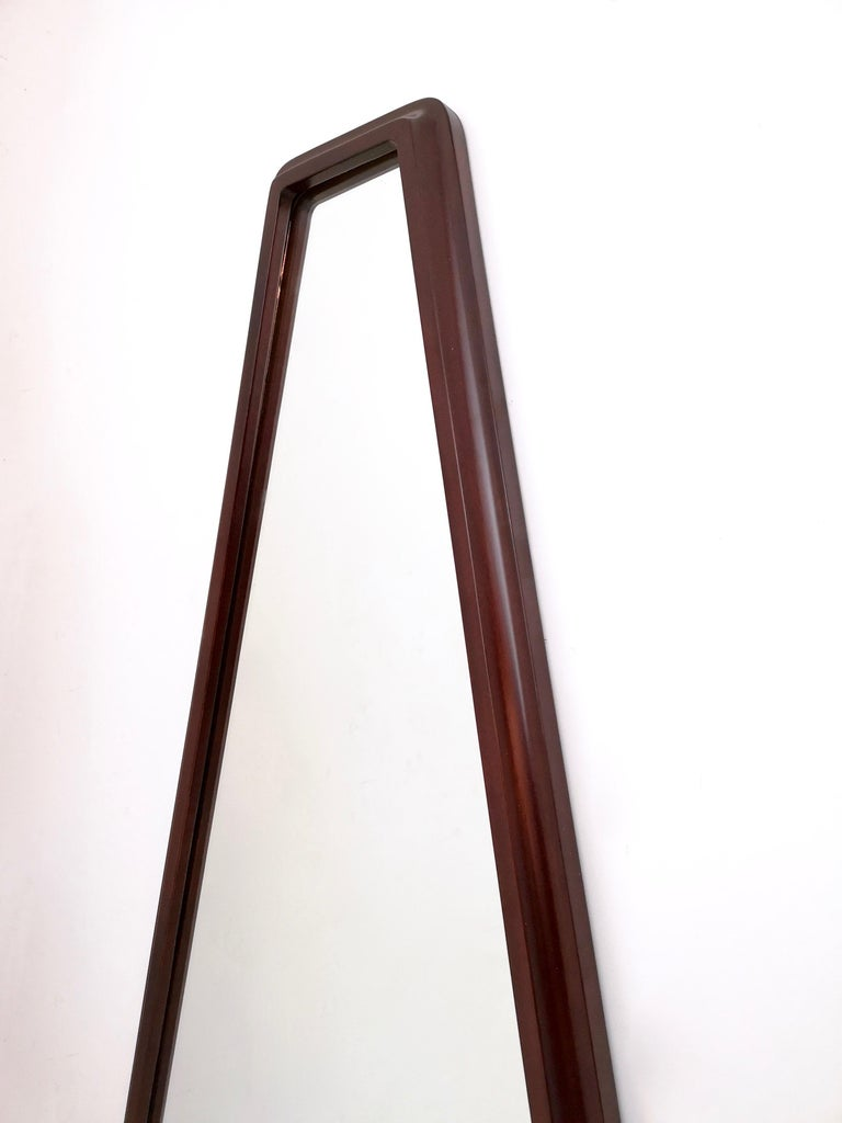 Mid-18th Century Midcentury Triangular Mirror with a Molded Solid Walnut Frame, Italy, 1960s For Sale