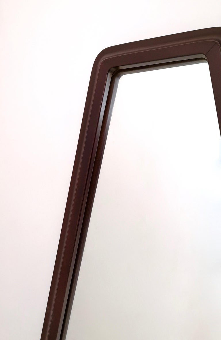 Midcentury Triangular Mirror with a Molded Solid Walnut Frame, Italy, 1960s For Sale 1