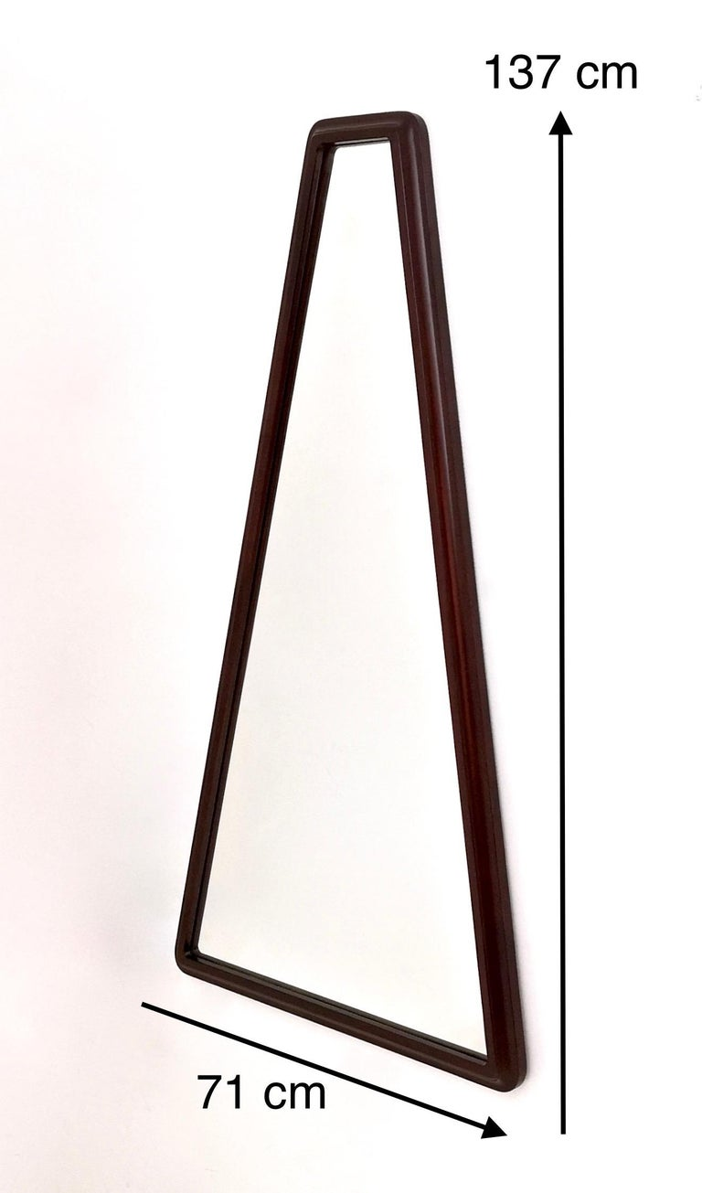 Midcentury Triangular Mirror with a Molded Solid Walnut Frame, Italy, 1960s For Sale 3