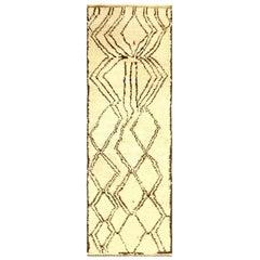 Midcentury Tribal Handmade Moroccan Natural Undyed Wool Rug