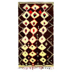 Midcentury Tribal Handwoven Moroccan Rug in Cream, Brown, Pink, Red, and Blue