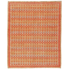 Midcentury Tribal Moroccan Orange, Beige and Blue Handmade Wool Rug