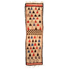 Midcentury Tribal Moroccan Runner in Cream, Pink, Red, Blue, and Black