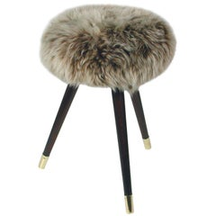 Midcentury Tripod Real Iceland Sheep Lamb Upholstered Stool, 1950s
