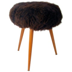 Midcentury Tripod Real Iceland Sheep Lamb Upholstered Stool Chair, 1950s