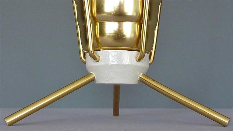 Midcentury Tripod Sputnik Umbrella Stand with Handle Golden White Black 1950s For Sale 2