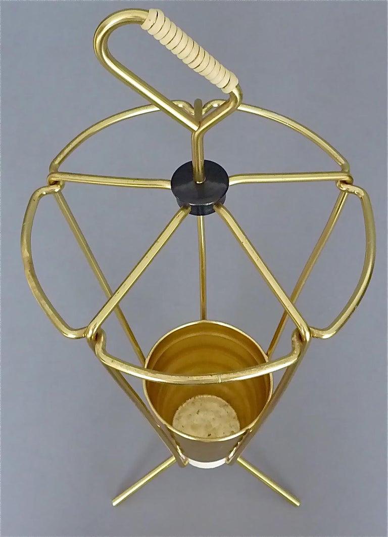 Midcentury Tripod Sputnik Umbrella Stand with Handle Golden White Black 1950s For Sale 3