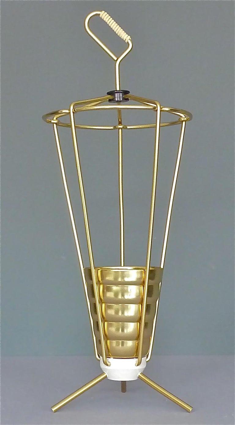 Midcentury Tripod Sputnik Umbrella Stand with Handle Golden White Black 1950s For Sale 5