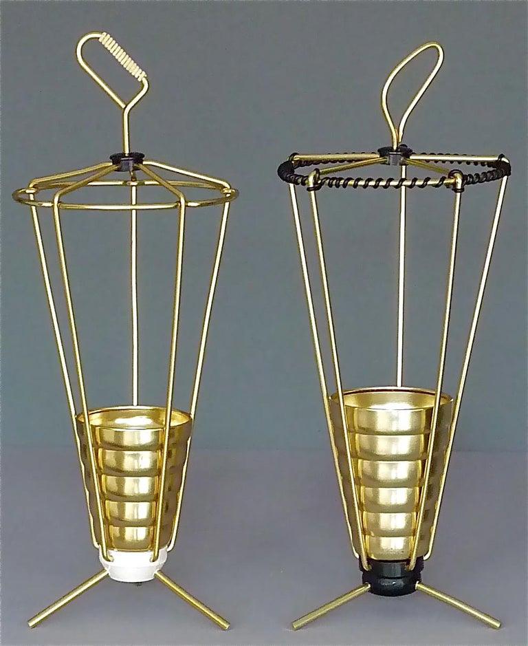 Midcentury Tripod Sputnik Umbrella Stand with Handle Golden White Black 1950s For Sale 6