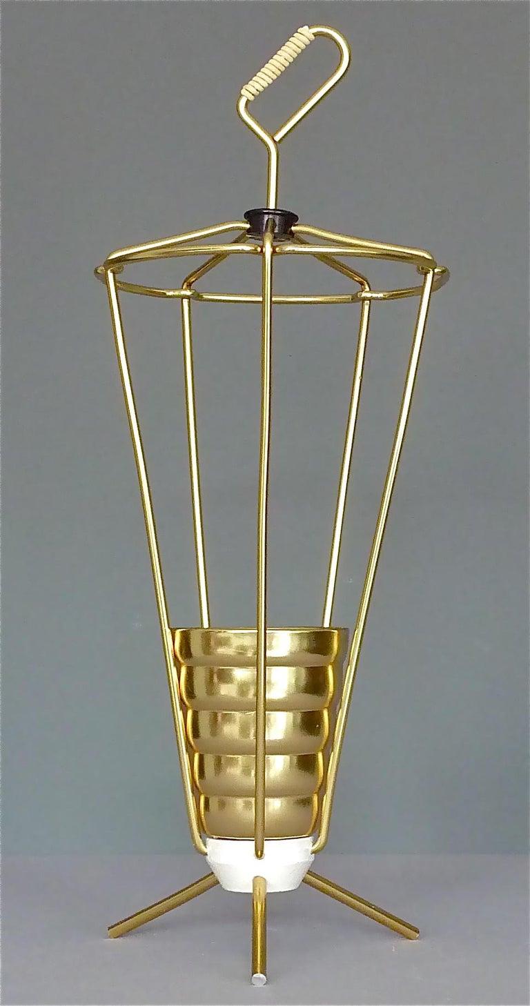 Midcentury Tripod Sputnik Umbrella Stand with Handle Golden White Black 1950s For Sale 7
