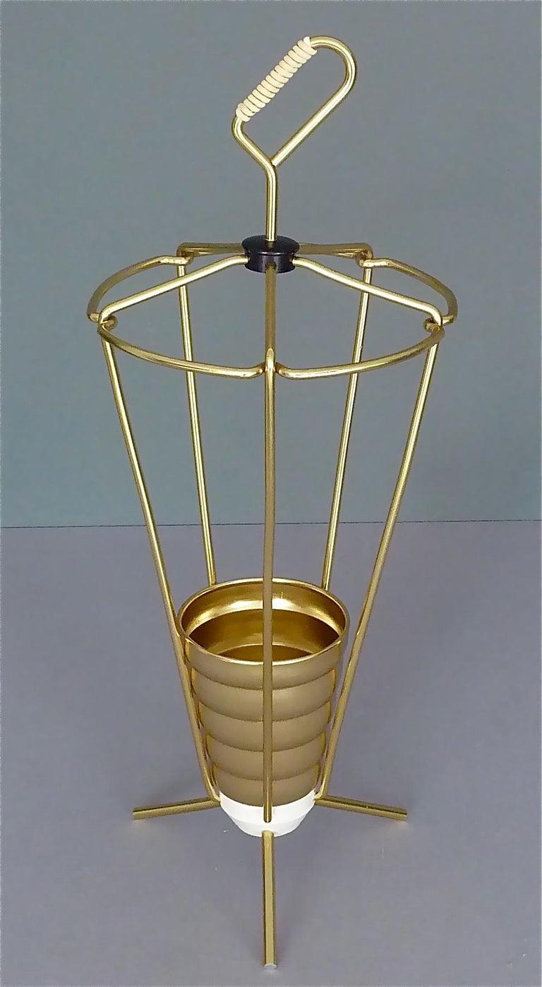 Italian Midcentury Tripod Sputnik Umbrella Stand with Handle Golden White Black 1950s For Sale