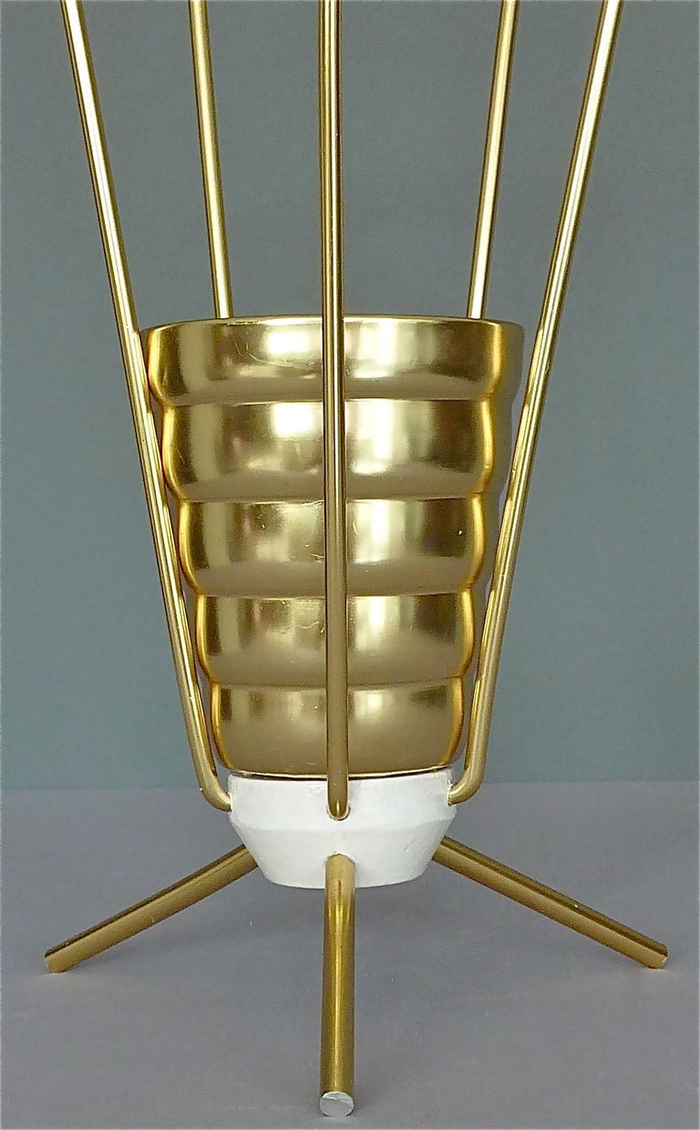 Mid-20th Century Midcentury Tripod Sputnik Umbrella Stand with Handle Golden White Black 1950s For Sale