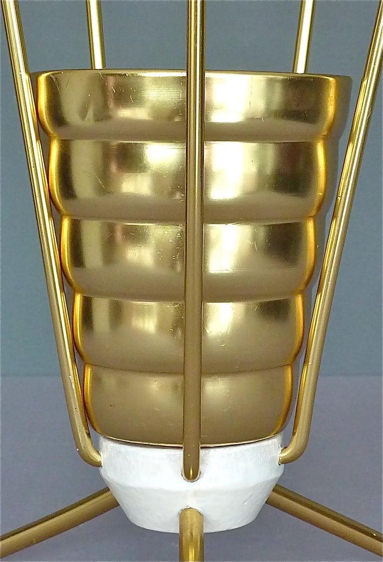 Aluminum Midcentury Tripod Sputnik Umbrella Stand with Handle Golden White Black 1950s For Sale