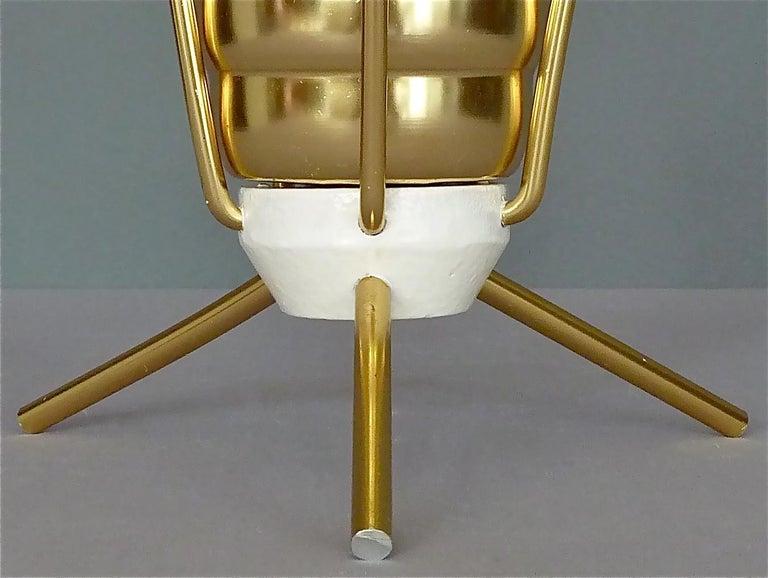 Midcentury Tripod Sputnik Umbrella Stand with Handle Golden White Black 1950s For Sale 1