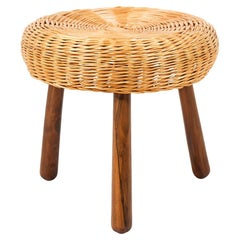 Midcentury Tripod Wicker Stool