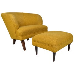 Midcentury Tub Lounge Chair & Ottoman in the Manner of Vladimir Kagan circa 1950