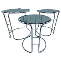 Midcentury Tubular Chrome and Smoked Glass Nesting Tables, 1970s