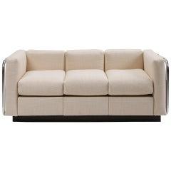 Midcentury Tubular Chrome Wool Platform Tuxedo Sofa