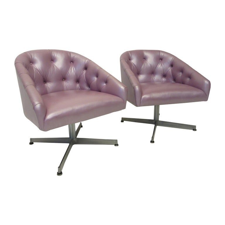 Midcentury Tufted Leatherette Swivel Chairs by Shelby Williams For Sale