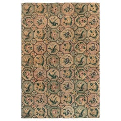 Midcentury Tulip and Roses Handmade Wool American Hooked Rug