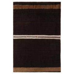 Midcentury Turkish Brown and White Kilim Wool Rug