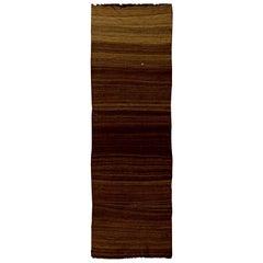 Midcentury Turkish Brown Flat-Weave Runner
