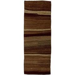 Midcentury Turkish Brown Flat-Woven Wool Runner