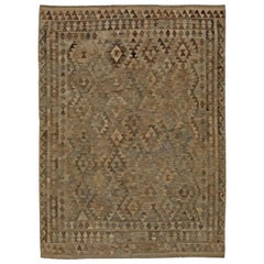 Midcentury Turkish Geometric Deep Brown and Beige Kilim Wool Rug