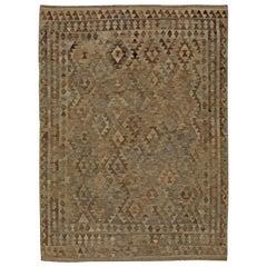 Midcentury Turkish Geometric Deep Brown and Beige Kilim Wool Rug