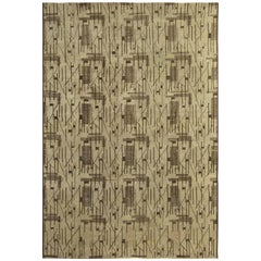 Midcentury Turkish Geometric Handmade Wool Rug in Dark and Light Brown