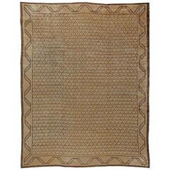 Midcentury Turkish Hereke Camel and Brown Handwoven Wool Rug