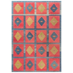 Midcentury Turkish Kilim Handwoven Wool Rug in Blue, Red, Orange and Beige