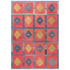 Midcentury Turkish Kilim Handwoven Wool Rug in Blue, Red, Orange and Beige