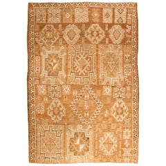 Midcentury Turkish Oushak Beige, Brown and White Wool Rug