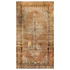 Midcentury Turkish Oushak Brown Handmade Wool Rug