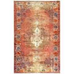 Midcentury Turkish Oushak Handwoven Wool Rug in Pink, Purple, Orange and Blue