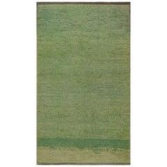 Midcentury Turkish Tulu Green Handwoven Wool Rug