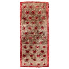 Midcentury Turkish Tulu Rug with Floating Flowers Design in Light Camel & Taupe