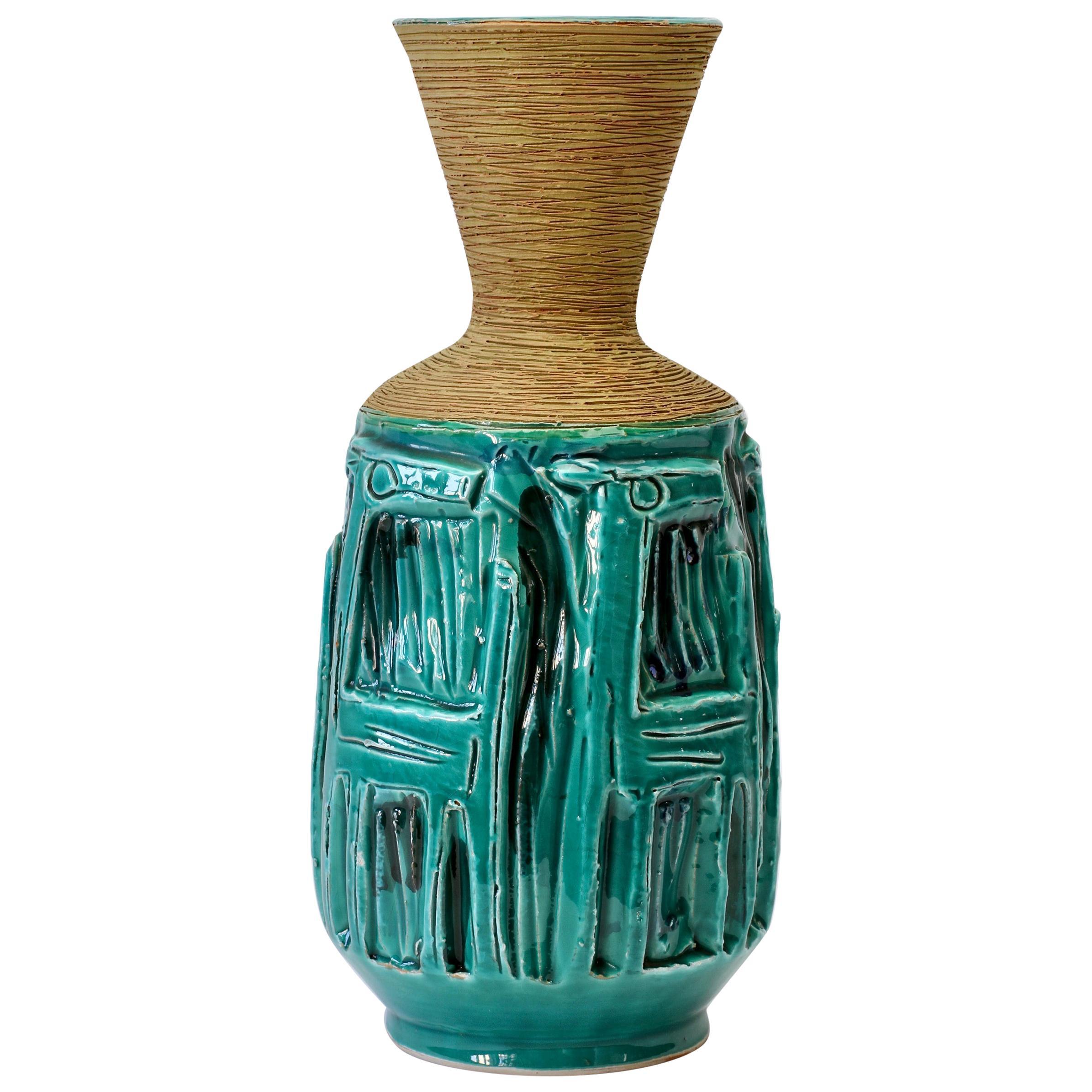 Midcentury Turquoise Italian Ceramic Vase by Fratelli Fanciullacci, circa 1960