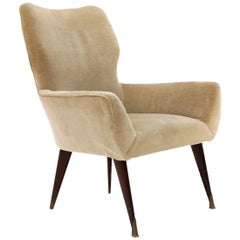 Midcentury Turtledove Velvet Italian Armchair, 1950s