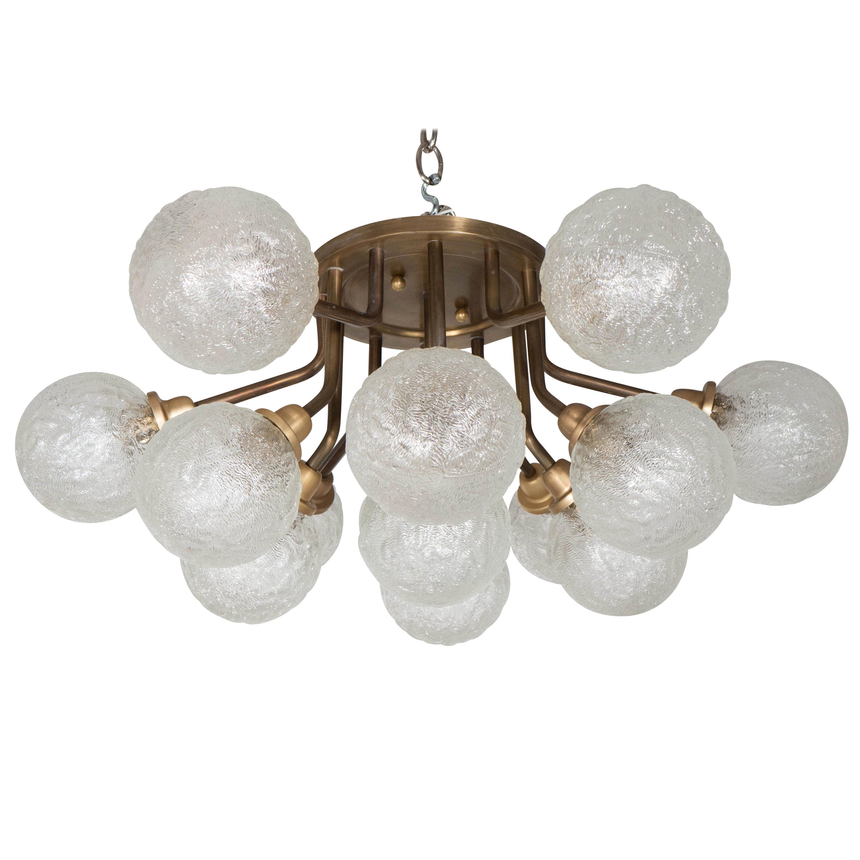 Midcentury Twelve-Arm Brass Flushmount Chandelier with Textured Glass Globes
