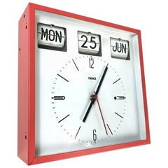 Midcentury Twemco Flip Date Calendar Wall Clock, 1960s, Hong Kong