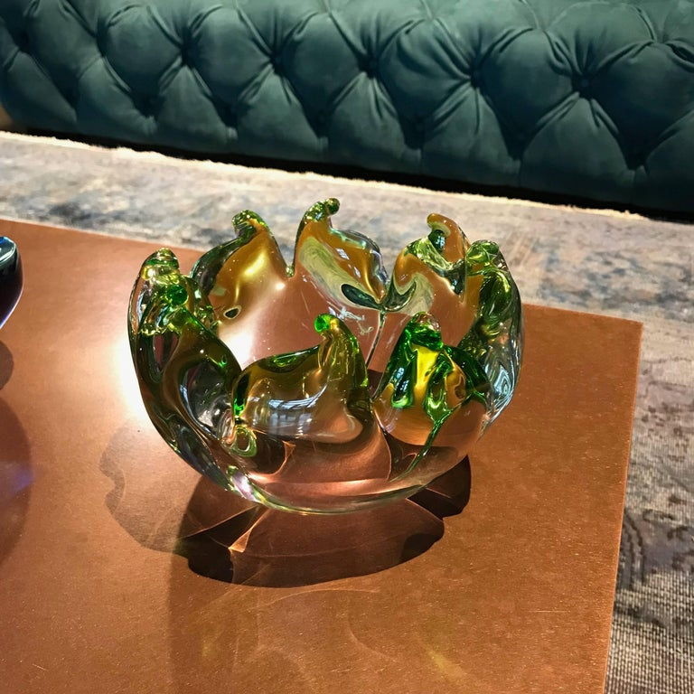 Mid-Century Modern Midcentury Twisted Flame Blown Green Murano Art Glass Bowl, Italy, 1950s For Sale